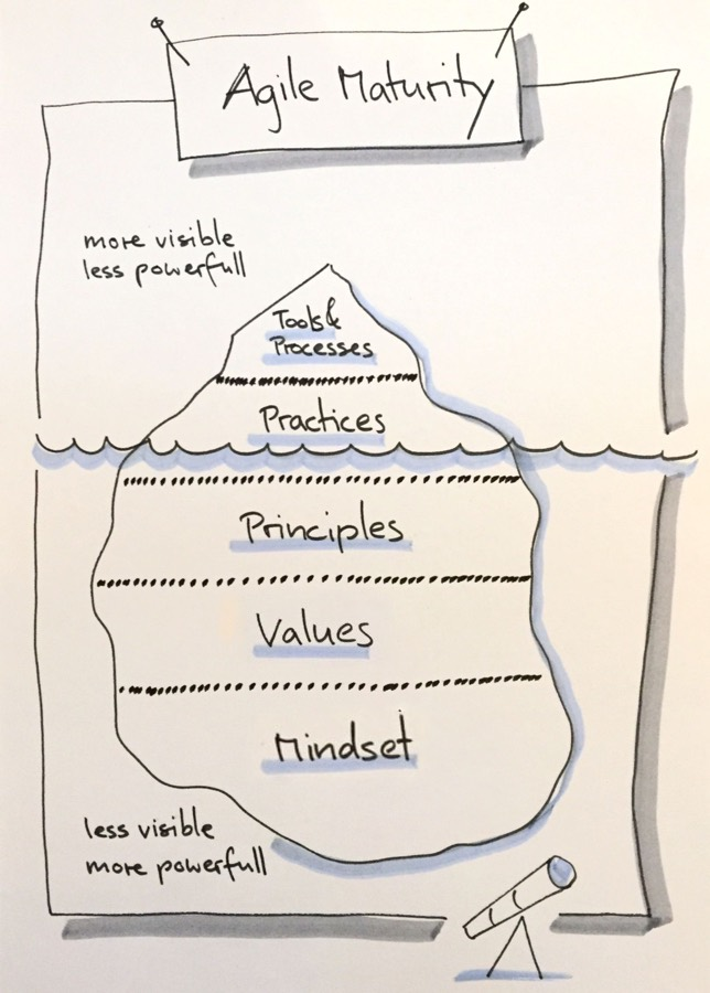 Agile Maturity: Values, Mindest, Principles, Practices, Tools & Processes