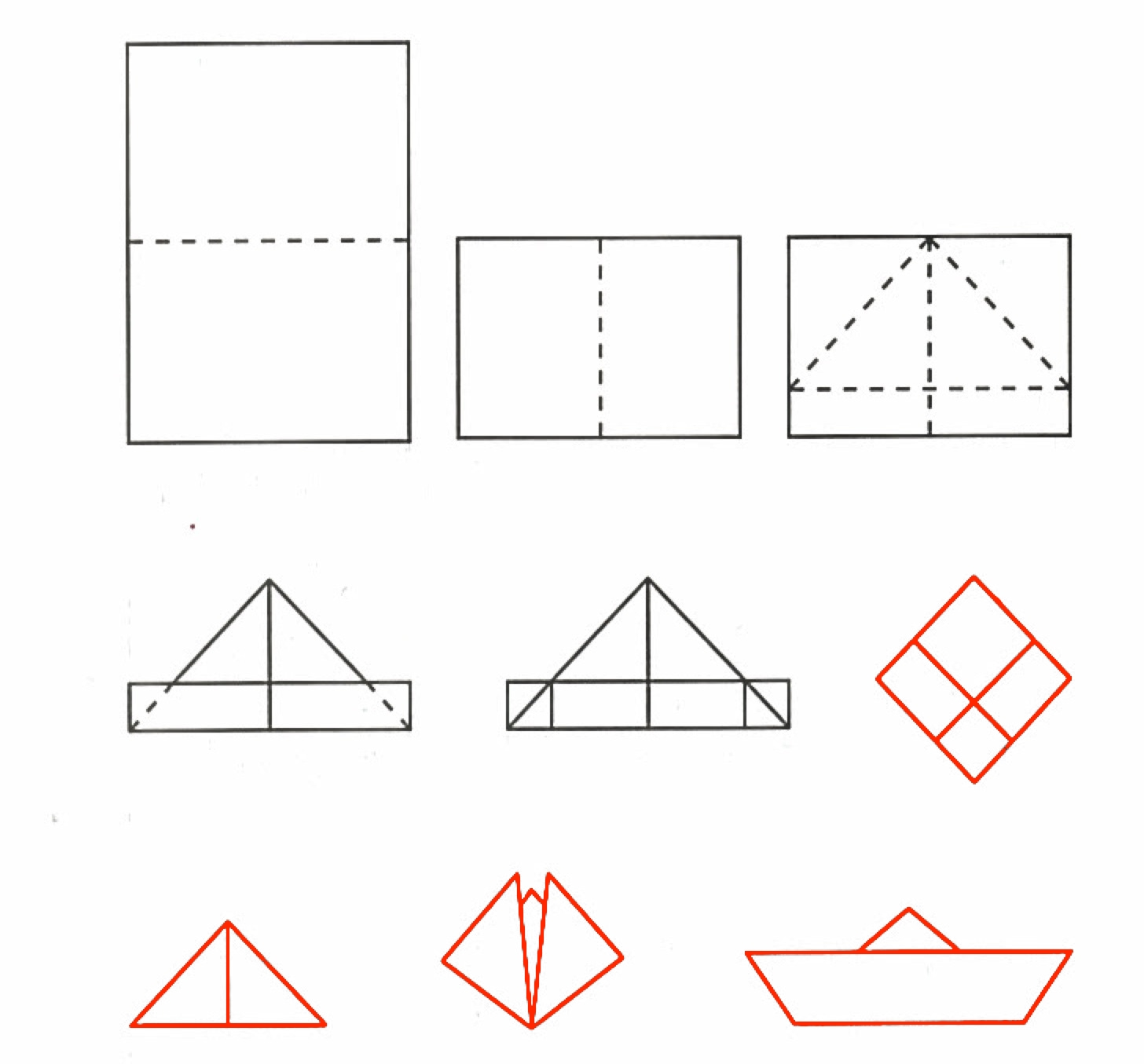 Folding instructions for paper ships